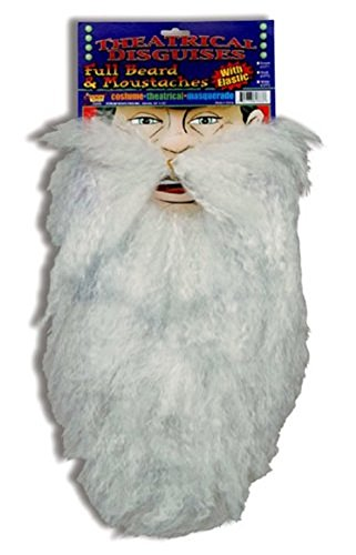 Full White Santa Old Man Beard With Mustache (Theatrical Moustaches And Beards)