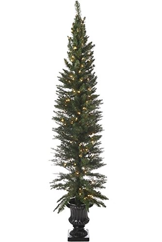 direct export 65 normandy potted prelit artificial christmas tree - Potted Artificial Christmas Trees