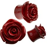 CloseoutWarehouse Resin Organic Bright Blue Hybrid Tea Rose Earplugs (Color Options, Sizes 3MM-25MM) (Red, 4.00)