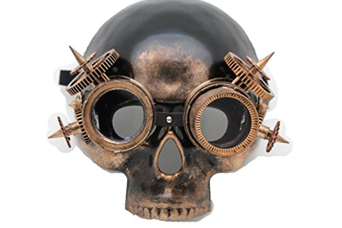 Steampunk Cyborg Costume (TFJ Men Skeleton Skull Unique Halloween Half Face Steampunk Mask S&m Costume Scary Robot Goggles Pirate Apocalyptic Future Warrior Cyborg)