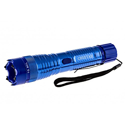 Cheetah Blue 10 Million Volt Rechargeable Stun Gun Flashlight Combo with Belt Clip and Charging Cord Included