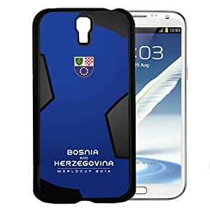 Bosnia and Herzegovina World Cup 2014 Professional Soccer Sports Team with Blue and Black Soccer Ball Background Hard Snap on Cell Phone Case Cover Samsung Galaxy I9500 (s4)