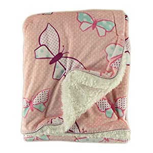 Olivia Rocco Super Soft Baby Blanket Pram Cot Bed Blankets Throw,Pink Butterfly