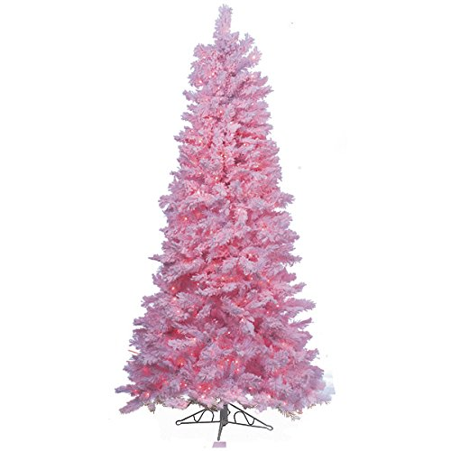 Pink Nordic Style Flocked Pre-Lit 7 foot 6 inch Christmas Tree