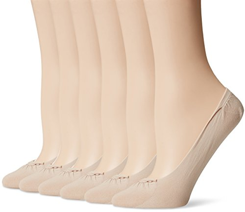 PEDS Women's Ultra Sheer Seamless Low Cut Liner No Show Socks 6 Pairs,Nude,Shoe Size 5-10