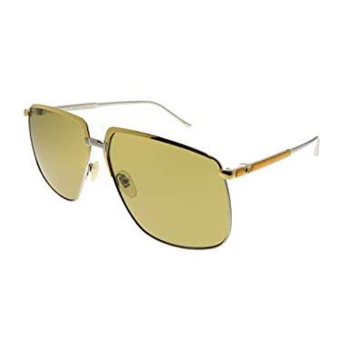 8191a524a9c Image Unavailable. Image not available for. Color  Gucci GG 0365S 003 Gold  Silver Metal Aviator Sunglasses Green Lens