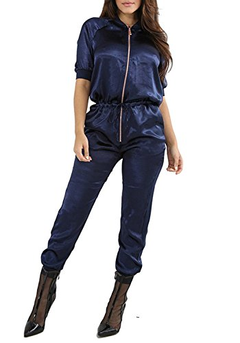 Women's Casual Lapel Front Zip Up Short Sleeves Drawstring Bomber Long Romper Jumpsuit Blue (Satin Jumpsuit)