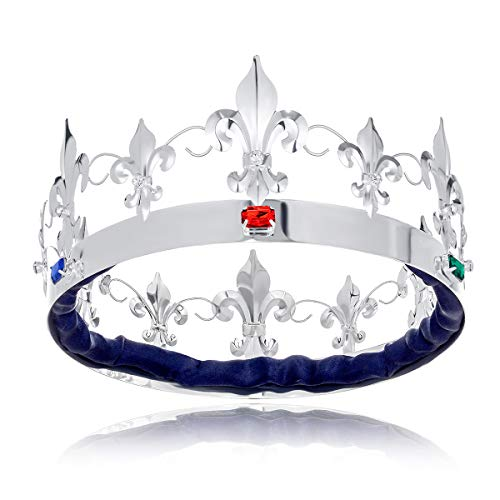 DcZeRong King Queen Full Tiara Crowns Adult Men Birthday Crown Homecoming Costume Prom King Crowns ()