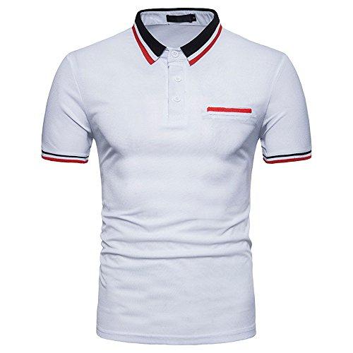 - Honhui Fashion Tops for Men Men's Summer Lapel Polo Shirt Top Short Blouse