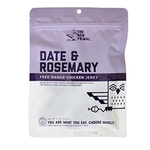 The New Primal Pasture Raised Chicken Jerky Date and Rosemary 2 Ounce, Pack of 8