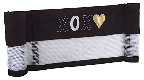 NoJo NoJo - XOXO -Secure-Me Crib Liner, Black, White, Gold