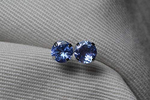 (14K White Gold Tanzanite Earrings, 1.00 Carat Round Cut Studs, Sterling Silver, Certified Real Genuine Natural Blue Tanzanite Jewelry)