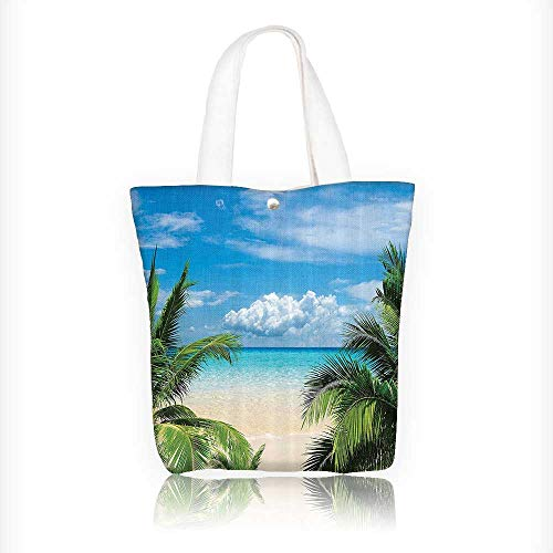 Reusable Cotton Canvas Zipper bag Relaxati Waterscape Island Heymo Traveling Seaside Shoreline Tote Laptop Beach Handbags W11xH11xD3 INCH (Cotton Tote Shoreline)