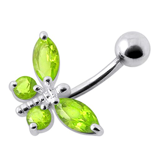Peridot Green CZ Stone Butterfly Design 925 Sterling Silver Belly Button Piercing Ring Jewelry