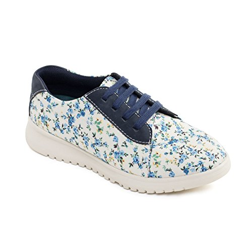 UK Shoe EE Women's Plimsoll Fit Free Flower' Horn 'Re Footcare Wide Navy Floral Leather Padders 4AxvZv