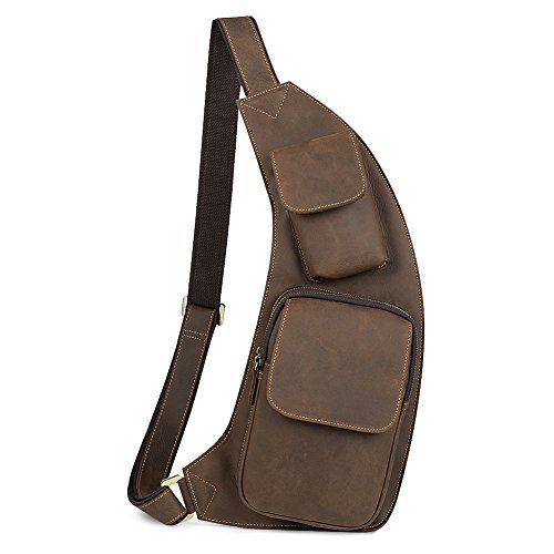 Kattee Genuine Cow Leather Cross Chest Shoulder Sling Bag Brown [並行輸入品]   B0793TH2XN