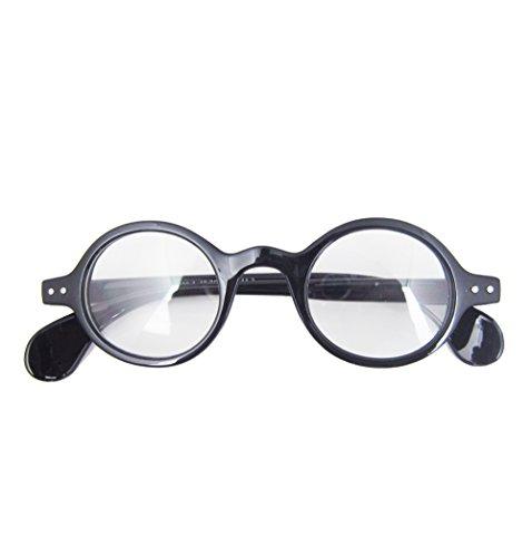 - Retro Prescription Eyewear Glasses Small Round Optical Eyeglass Frame (Shiny black)