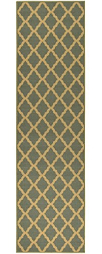 Ottomanson Ottohome Collection Contemporary Morrocon Trellis Design Runner Rug with Non-skid (Non-slip) Rubber Backing Lattice, 1'10