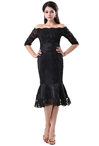 Angel Formal Dresses Women's Mermaid Tea Length Black Lace Mother Of The Bride Dresses(20)