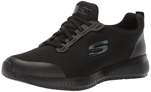 Skechers for Work Women's Squad SR Food Service Shoe,Black Flat Knit 1,8.5 M US