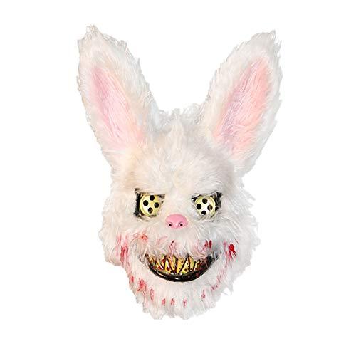 Scary Rabbit Costumes (KOqwez33 Halloween Scary Animal Head Mask, Plush Bloody Bear Rabbit Creepy Scary Full Mask Halloween Party Decoration Masquerade Costume Props White)
