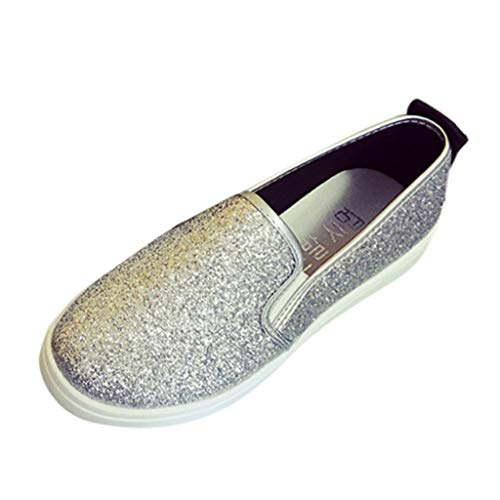 Cenglings Women's Casual Solid Slip On Round Toe Loafers Flat Shoes Bling Sequin Casual Loafer Shoes Office Shoes