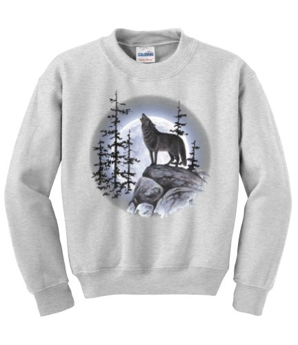Express Yourself Wolf Moon Standing Crew Neck Sweatshirt (Ash Gray - Large) - MENS ()