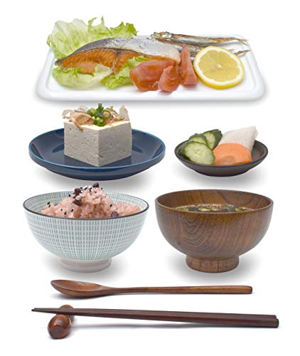 Japanese Dining Set - 8 Piece Japanese Dinnerware Ceramic and Wood Dish Plate and Bowl Full Tableware Set