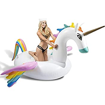 CAPTAIN FLOATY Giant Rainbow Pegasus Unicorn Pool Float, Swim Raft Floatie Lounger for Kids and Adults (Luxury Model)