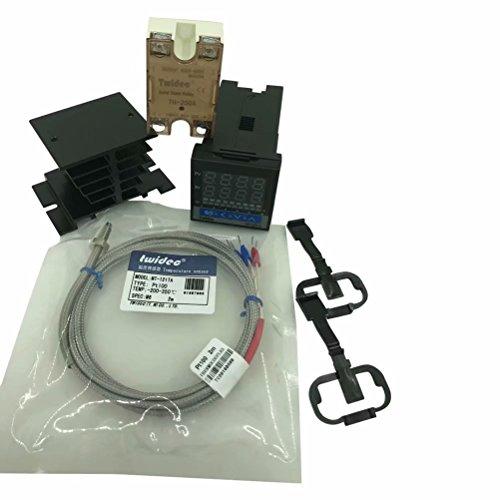 Twidec MT100-2 PID Temperature controller, 90-240VAC, 0-400 °C, Input:PT100, Output: SSR(DC12V);PT100 screw probe, probe lead length 2M(78.74 inches);TH-25DA SSR 25A;Black heat sink by twidec