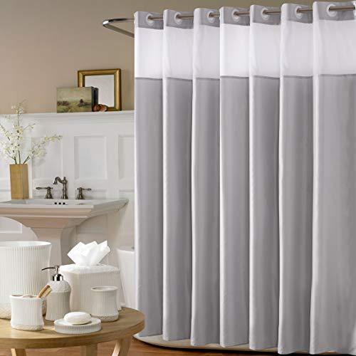 Avershine Sheer Shower Curtain Waterproof , 72 x 80 Inch Hookless (Sheer Light Grey 72