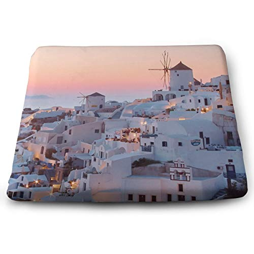(IEIKKD White Concrete Buildings During Golden Hour Santorini Greece Seat Cushion Pads Memory Foam Chair Pad Reversible Square Seat Cover Delicate Printing)