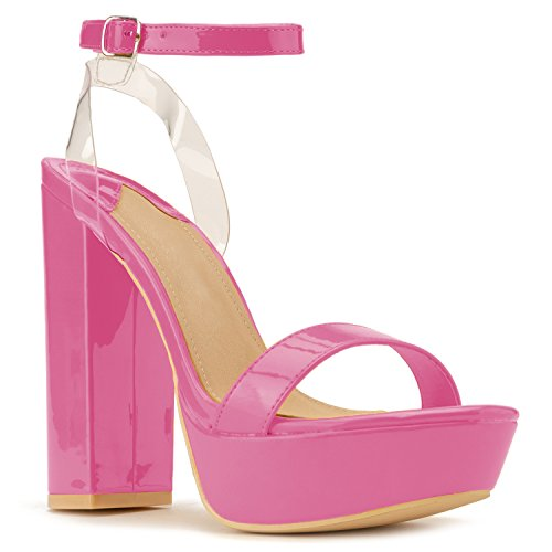 RF ROOM OF FASHION Women's Chunky Dressy Heel Sandal | Open Toe Platform Pumps with Buckle Lucite Ankle Strap | Party Evening Shoes High Heel Pump Sandals Fuchsia (11)
