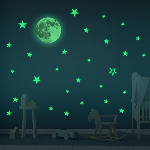 Glow In the Dark Stars & Moon Wall Stickers – Baby Room Decor Sticker - Wall Stickers For Kids- Boy & Girl Room Sticker – Home Decor Wall Sticker– 30 cm Moon and 28 pcs Stars by Sweet Dreams