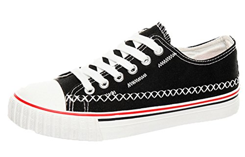 tmates-womens-classic-cap-toe-lace-up-stitches-low-cut-flat-sole-canvas-fashion-sneakers-8-bmusblack