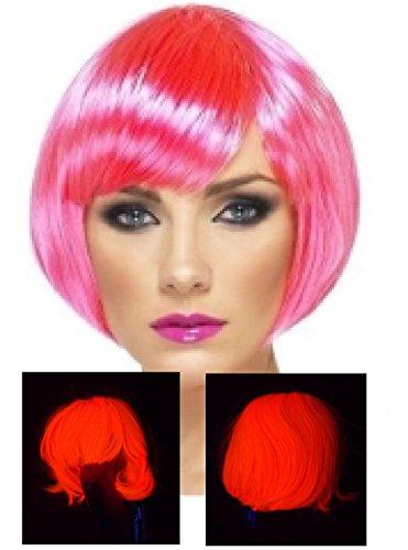 - Neon Babe Wig Short Bob with Bangs - Fringe - Hot Pink