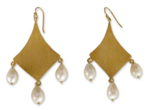 NOVICA Cultured Freshwater Pearl Yellow 22k Gold Vermeil Bridal Chandelier Earrings 'Seduction' ()