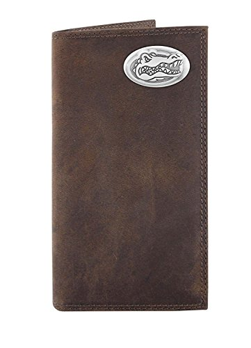 NCAA Florida Gators Light Brown Crazyhorse Leather Roper Concho Wallet, One (Florida Gators Light)