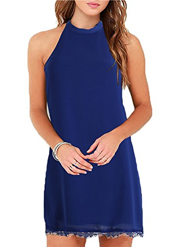 9540059fe99 Fantaist Women s Summer Halter Backless Lace Cocktail Dresses for Wedding  Guest (M