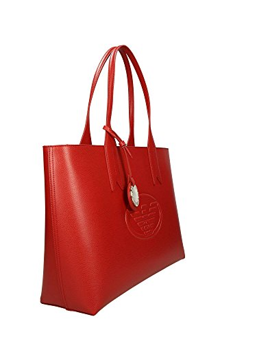 Handbag Armani Logo Emporio Red Shopping Leather Femme zFIn10nd