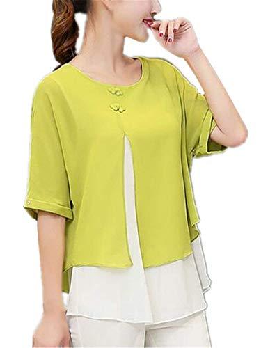 Blouse Shirt Vert Fille Femme Elgante Demi Chemise Haut Mousseline Col Elgante Manches Mode Classique Dame Et Rond Dsinvolte Tops Jeune Splicing Bouffant rfr18xWRw
