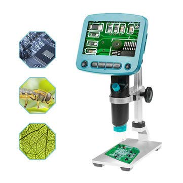 (HD 5 .0MP 800X Portable USB Digital LCD Microscope 4.3 Inch LCD Screen+G600 Aluminum Alloy Stand Bracket Holder - Optical Instruments Digital Microscope - 1 x Auger Bit)