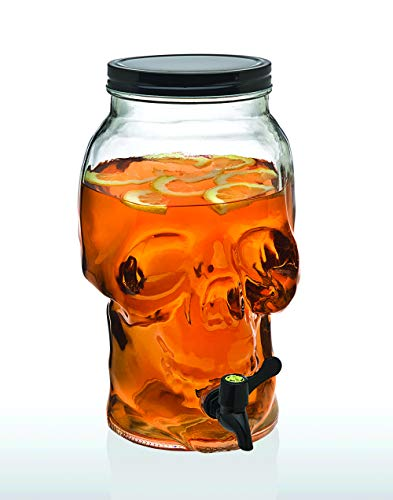 Punch Drink For Halloween (Skull Beverage Drink Dispenser Server for Ice Tea, Water, Juice, Beer or Liquor -)