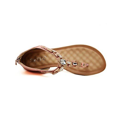 Angelliu Kvinners Luksus Bohem Krystall Pu Flip Flops Wedges Sandaler Tilbake Zip Rosa