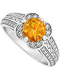 November Birthstone Success Stone Citrine with Cubic Zirconia Criss Cross Fashion Ring