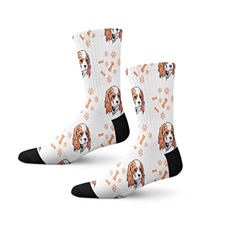 Cavalier King Charles Spaniel Dog Breed Novelty Cuff Crew Men Women Socks Small