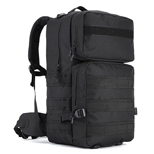 WOTOW Tactical Assault Pack, 55L MOLLE Backpack Military Gear RucksackCombat Backpack Water Resistant Sport OutdoorCamping Hiking Trekking Bag Black (Black)