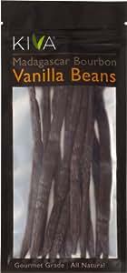 (5 Beans) Kiva Gourmet Madagascar Bourbon Vanilla Beans - Non-GMO, Raw, Vegan