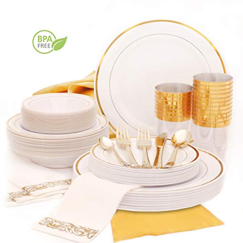 Earth's Dreams Gold Rimmed Dinnerware Set for 25 Guests [301pcs] Gold Plastic Plates for Party | Disposable Wedding Tableware: Dinner and Dessert Plates, Bowls, Napkins, Cutlery, Cups, Table Runner