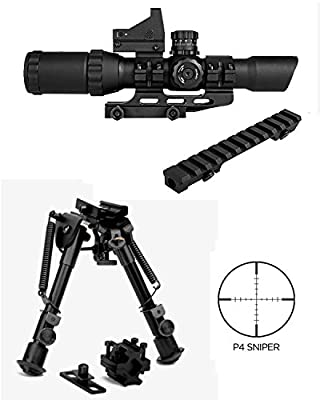 M1SURPLUS Tactical Kit For Ruger PC4 PC9 Ranch Rifles Includes Trinity 1-4x28 CQB Optic with Micro Dot Sight (P4 illuminated Reticle) + Bolt On Scope Mount + Quick Deploy Compact Bipod